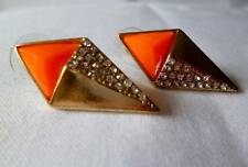 Gold tone geometric style NEON ORANGE & diamante stud style drop earrings