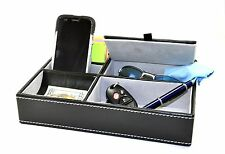 Men Valet Jewelry Box Phone Dresser Wallet Tray Office Organizer 5 compartment