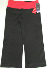 Costco Kirkland Reversible Capri Yoga Gym Pants Leggings UK 10 S Black & Red
