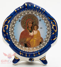 Porcelain gzhel decal plaque Icon Smolensk Mother of God Cмоленская Икона БМ