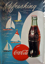 PLAQUE METAL PUBLICITAIRE COCA COLA refreshing usa vintage 20 x 30 cm