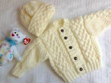 Aran Cardigan For New Baby (Newborn Or 0-3month) Or Reborn Doll. NOT The Pattern