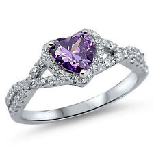 USA Seller Infinity Heart Ring Sterling Silver 925 Jewelry Amethyst CZ Size 10