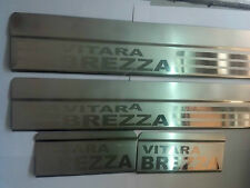 Car Stainless Steel Chrome Foot Step Sill Scuff Plates Set of 4 pieces :- Brezza