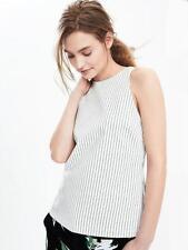 NEW Banana Republic Womens White Ponte Knit Stripe Tank Top Sleeveless 14 $58