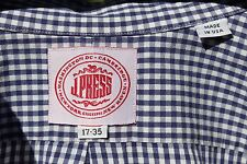 J. Press 17/35 Gentleman's Blue Gingham Check Dress Shirt - USA