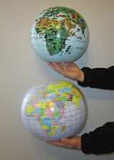 2 INLATABLE WORLD GLOBES & 2 ANIMAL PRINT GLOBES BEACH BALLS INFLATE EARTH MAP