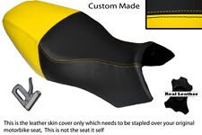 BLACK & YELLOW CUSTOM FITS BUELL ULYSSES XB12X 1200 LEATHER DUAL SEAT COVER