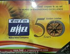 2014 rare 50 yrs of bhel proof set of 2 coins set 100 rs silver & 5 rs top cond.