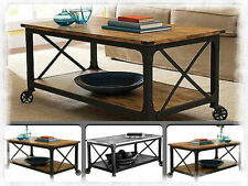 Industrial Coffee Table Iron Vintage Wood Metal Cart Furniture Rustic Antique