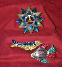 Vintage  Handmade Mexican Tin Folk Art    Christmas Ornaments