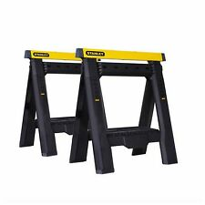Stanley Folding Saw Horse Sawhorse Legs Adjustable 2 Pack Work Bench Table Tool