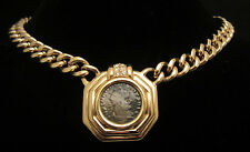 "Rare Vtg 15""x1-1/2"" Signed Ciner Gold Tone Rhinestone Roman Head Necklace A43"
