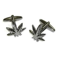 Silver Smokers Canabis Weed Leaf Cufflinks With Gift Pouch Bob Marlet Present