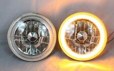 """1965-1978 FORD MUSTANG 7"""" Round 6014/6015/6024  AMBER LED SMD Halo Headlights"""