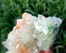 Light Green POINTED APOPHYLLITE w/ STILBITE on CHALCEDONY Mineral specimen B-6