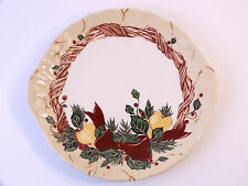 Wedgwood Home Amway CHRISTMAS WREATH Round Handled Cake Plate 10 1/8 Pear Ribbon