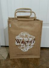 Burlap Wine Bottle Bag Tote CarryAll Gifts Heavy Duty Bamboo Handles Holds 6