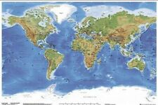 WORLD POSTER MAP Satellite Physical Geography 61x91cm Wall Chart Atlas BRAND NEW