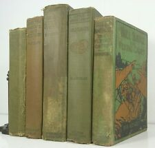 1890-~Antique Green 5 Book Lot~Old Decorative Set~Distressed~WILDFLOWERS~GARDENS