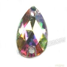 150pcs Wholesale Clear AB Teardrop Charms Sew-on Faceted Resin Flatback Beads LJ