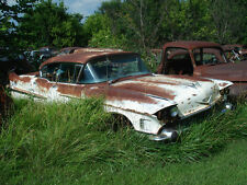 1958 Cadillac being devoured in junk yard by tall grass 8 x 10 Photograph