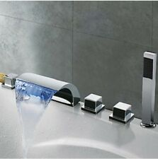 Widespread LED Bathtub 5 pcs Waterfall Tap Chrome Finish t with Hand Held Shower