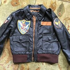 AERO BOYS 4, A2 LEATHER STEER HIDE FLIGHT JACKET BOMBER; TOP GUN AVIREX PILOT