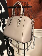 NWT MICHAEL KORS SAFFIANO LEATHER CIARA LARGE TOP ZIP SATCHEL LTR BAG-PEARL GREY