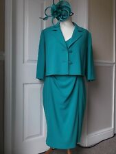 """ALEXON"" MOTHER OF BRIDE WEDDING SUIT and FASCINATOR - size 16/18 EMERALD GREEN"