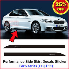 2pcs M Performance Side Skirt Sill Stripe Decal Sticker for BMW 5 Series F10 F11