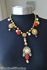 £1300 DOLCE & GABBANA GOLD PLATED SWAROVOSKI CRYSTAL NECKLACE NEW AUTHENTIC