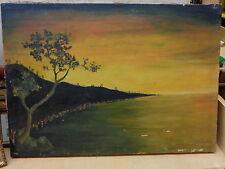 Vecchio quadro dipinto a olio o tempera su tela tramonto a Salerno Costiera di