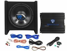 "Rockville RV10.1A 500w 10"" Loaded Car Subwoofer Enclosure+Mono Amplifier+Amp Kit"