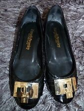 RUSSELL & BROMLEY BLACK 100% LEATHER QUILTED PATENT FLAT SHOES UK 4 EUR 37