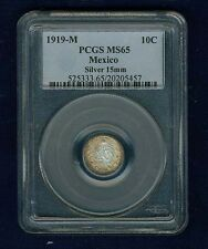 MEXICO ESTADOS UNIDOS 1919 10 CENTAVOS COIN CERTIFIED GEM UNCIRCULATED PCGS MS65