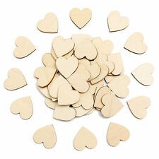 Hot 50Pcs Wooden Love Hearts Shapes Embellishments Heart Plain Craft 4cm u u