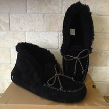 Ugg Alena Slippers Moccasins Black Suede Sheepskin US 11 Womens 1004806