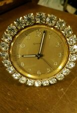 ULTRA-RARE BEAUTIFUL CYMA RHINESTONE ALARM CLOCK SWISS MADE  NOT WORKING!
