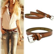 Womens Fashion Adjustable Casual Brown Thin Cow Leather Buckle Waist Belt Hot
