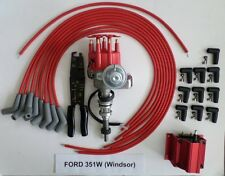FORD 351W Red Small Cap HEI Distributor,coil, UNIVERSAL SPARK PLUG WIRE 45-CRIMP