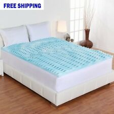 "2"" Cooling Gel Orthopedic Foam Mattress Topper Bed Sleep Cover Queen"