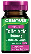 CENOVIS FOLIC ACID 500MCG 150 TABLETS PRIOR TO CONCEPTION AND DURING PREGNANCY