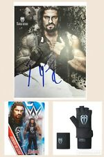 WWE ROMAN REIGNS OFFICIAL SIGNED POSTER PHOTO & GLOVE SET & WRESTLING FIGURE WWF