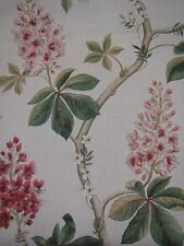 "SANDERSON CURTAIN FABRIC DESIGN ""Chestnut Tree"" 2.5 METRES CORAL/BAYLEAF"