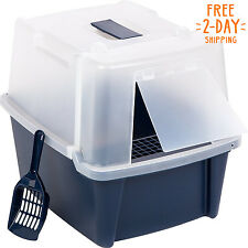 Cat Litter Box Large With Scoop Pan Grate Toilet for Kitty Easy Clean To Sandbox
