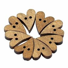 100pcs 2 Holes Lovely Brown Wood Wooden Sewing Heart Shape Button Craft SP