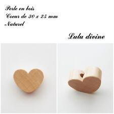 Perle en bois de 30 x 25 mm, Perle plate Coeur : Naturel