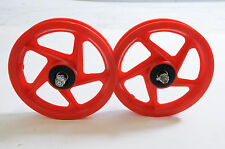"TWO FRONT 12""MAG WHEELS FOR 12"" PUMP UP TYRES,SCOOTERS & SPECIAL PROJECTS RED"