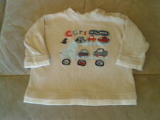Baby Boys 3-6months - Beige & White Long Sleeved Top - Cars on the Move